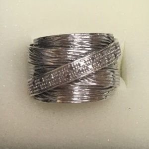 Sterling Silver Wide Band Ring w/Diamonds-Size 7